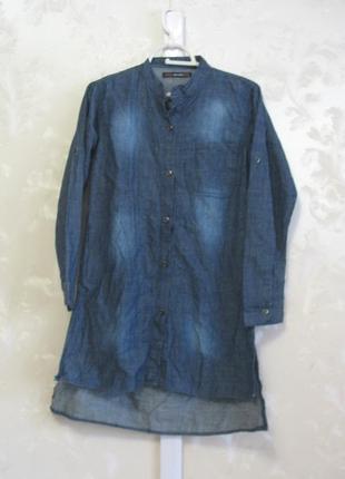 Джинсовое платье-рубашка с длинными разрезами по бокам bershka