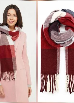 Теплый эффектный брендовый шарф marks&spenser в  клетку