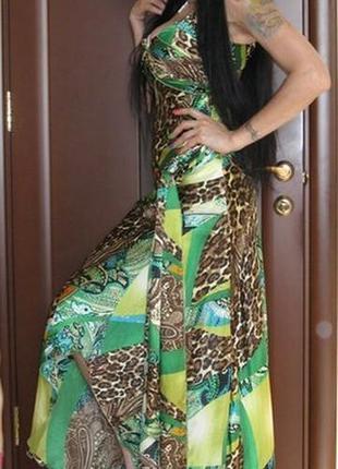 Сарафан платье длинный макси впол с вырезом на спинке пояс шлейф