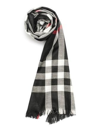 Женский кашемировый шарф в клетку черного цвета