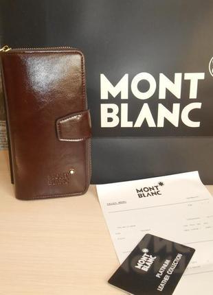 Мужкой клатч кошелек барсетка органайзер mont blanc, кожа, италия 2211