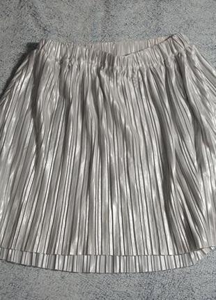 Плиссированная юбка, юбка плиссе серебрянная