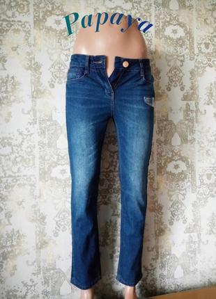 6/25р новые джинсы с лёгкими потёртостями для базового гардероба papaya