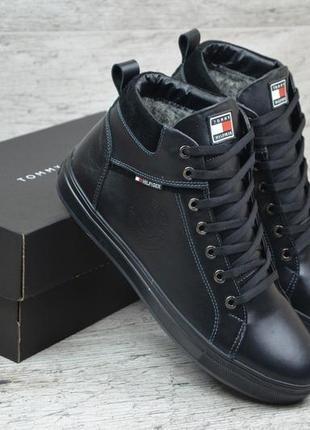 40 41 42 43 44 45 мужские кроссовки ботинки сапоги с мехом tommy hilfiger black