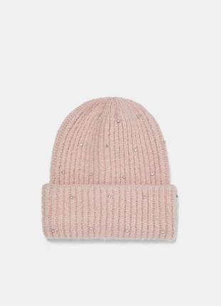 Розовая шапка-бини со стразами