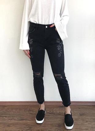 Штаны джинсы с нашивками с потертостями винтаж river island