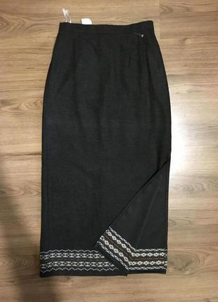 Натуральная тёплая юбка с орнаментом,с разрезом.марокко!