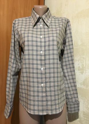 Коттоновая рубашка в клетку с запонками,100%хлопок
