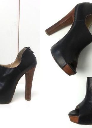 Pier lucci кожаные ботильоны ботинки открытый носок 38