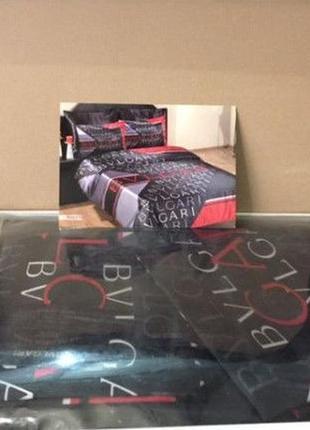 Атласный постельный комплект bulgari евро макси с простынью на резинке