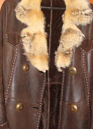 Классная кожаная дубленка с натуральным мехом и волчьим воротником р.48-50