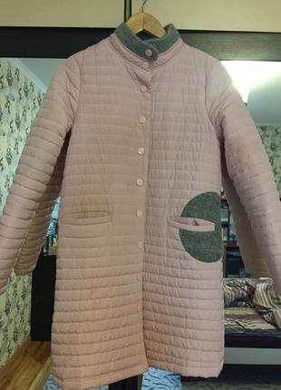 Пальто демисезонное, куртка на холлофайбере пудровое