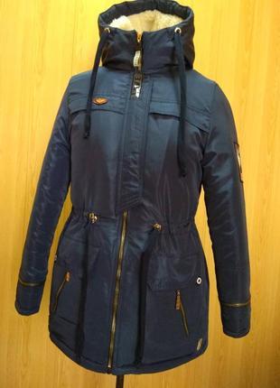 Куртка парка на меху  разные размеры синяя (42-50)