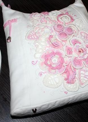 Белая коттоновая сумка с кружевом