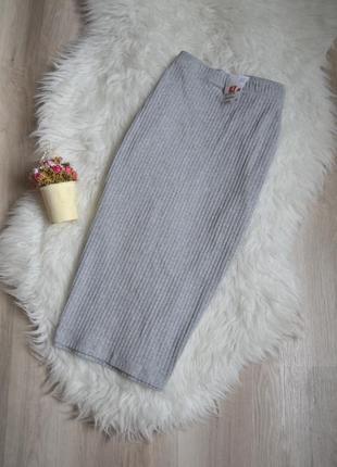 Новая юбка миди в рубчик h&m