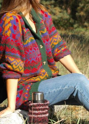 Длинный кардиган. теплый свитер. кардиган с орнаментом. яркий свитер