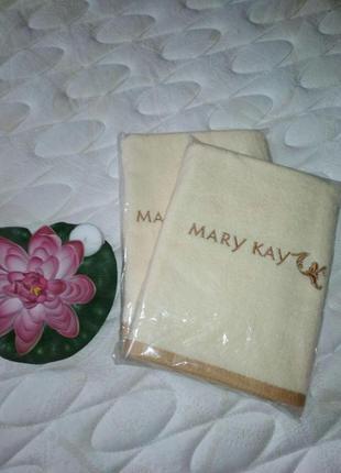 Полотенце кремовое с вышивкой mary kay, мери кей