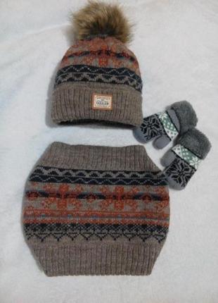 Супер теплый набор шапка + хомут