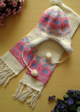 Зимний комплект (шапка-ушанка на меху и двойной шарф), на ог 48-50 см