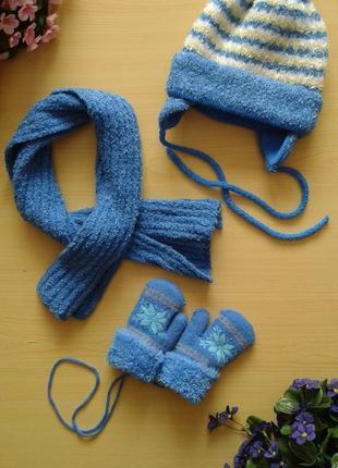 Зимний комплект (шапка, шарф и варежки), на ог 44-46 см