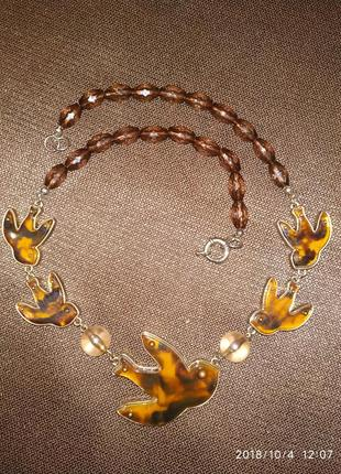 Бижутерия ожерелье птица ласточка