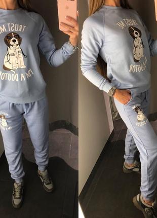 Спортивный костюм на флисе с милым принтом amisu прогулочный комплект xs-xl