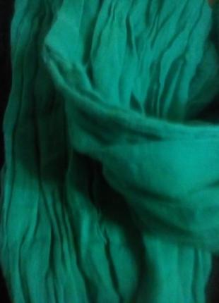 Бирюзовый шарфик с бахромой .бохо-стиль.