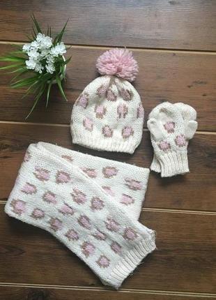 Красивый набор шапка шарф варежки2