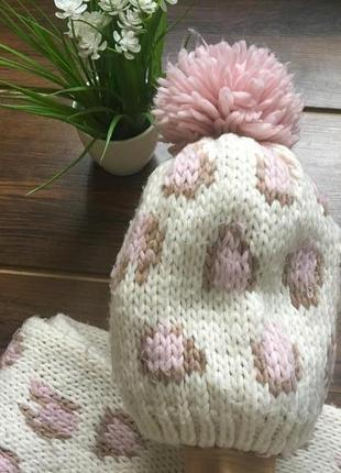 Красивый набор шапка шарф варежки3