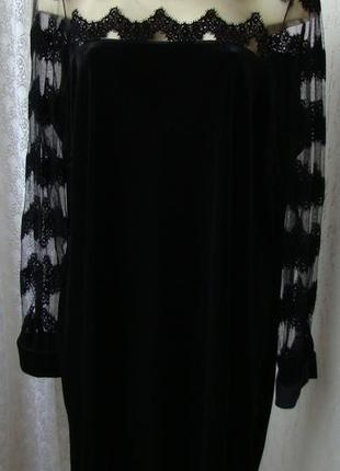 Платье женское черное вечернее бархатное бренд junarose р.56-60 №6516