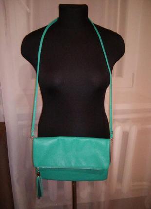 Очень красивый клатч -сумочка через плечо темно бирюзового цвета