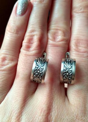 Необыкновенные винтажные серебряные серьги, сережки серебро 925 проба.