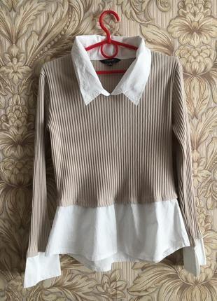 Комбинированный джемпер рубашка все по 20
