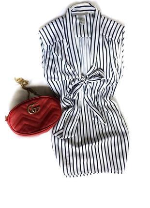 Модная блуза безрукавка в полоску с завязками, 38