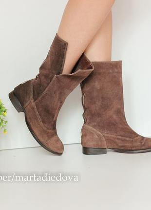 Замшевые итальянские сапоги ботинки полусапожки, натуральная замша