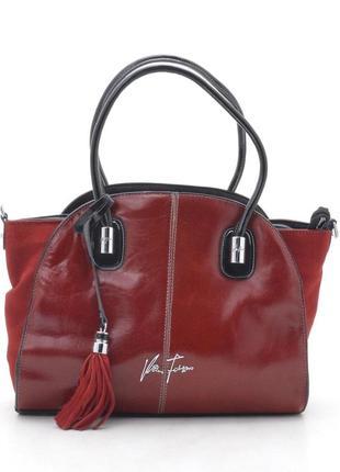 Кожаная сумка velina fabbiano 56412 красная