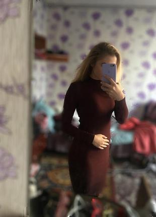 Платье бордовое миди