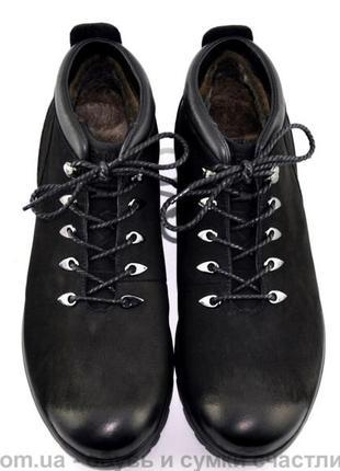 Крутые кожаные зимние ботинки для мужчин 41 42