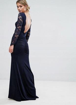 Tfnc розкішна темно-синя вечірня сукня ажурний верх