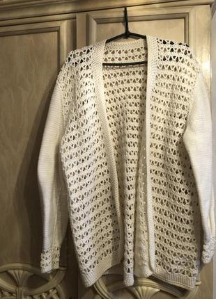 Вязаный ,крупная вязка ,кардиган натуральная шерсть теплый ххл-хххл италия