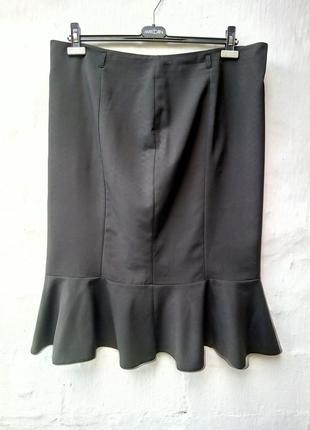 Красивая,роскошная черная юбка годе внизу валан,большой размер,классическая,батл.