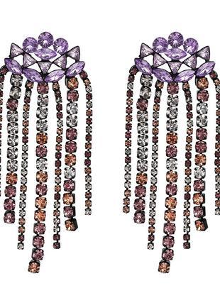 Серьги zara c фиолетовыми камнями