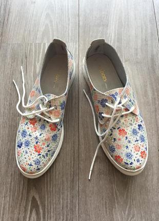 Туфли спортивные на шнуровке, белые в цветочек, allshoes, 38