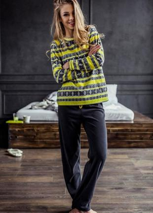 Пижама из флиса теплый домашний комплект key m l xl