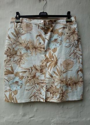 Красивая бежевая котоновая юбка в  принт цветы,большой размер,стрейч.