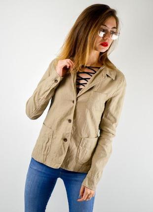 Uniqlo льняной блейзер на пуговицах с карманами, натуральный пиджак, жакет из льна
