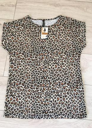 Футболка блуза хлопок леопардовая