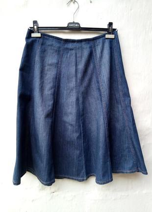 Красивая нежная синяя джинсовая легкая юбка а-силуэт,солнцеклеш,котон,кэжуал.