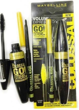 Тушь maybelline vollum express colossal go extreme leather black + карандаш, набор