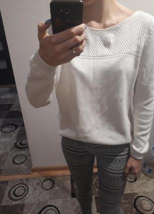 Хлопковый вязаный свитер кофта джемпер